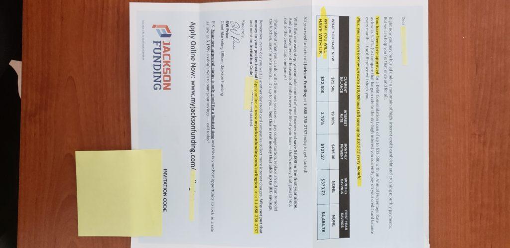 Jackson Funding mailer