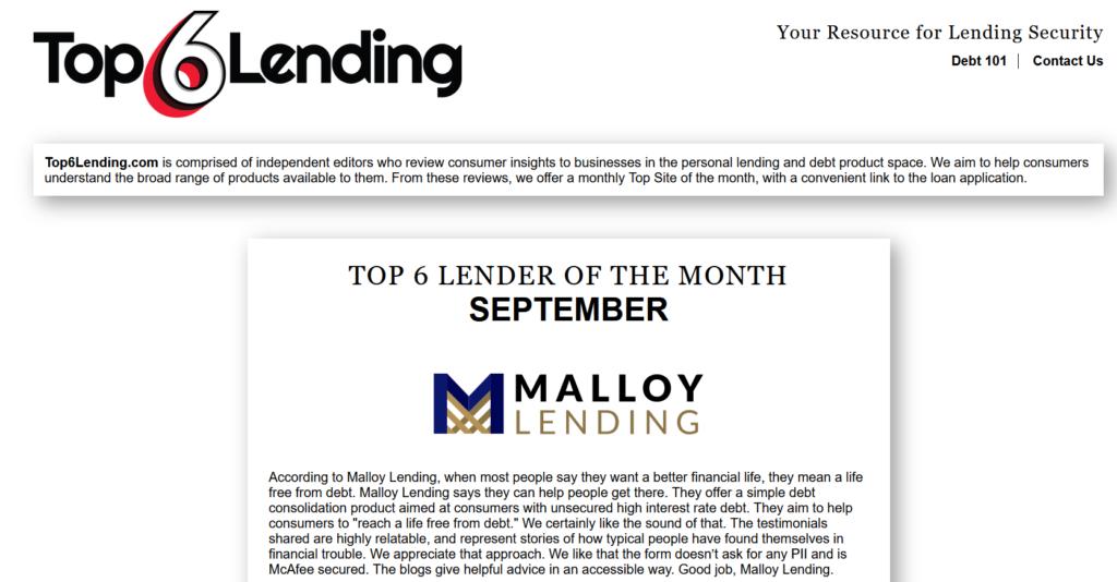 Malloy Lending Top 6 Lending
